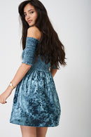 Green Bardot Dress in Crushed Velvet Ex Brand-Fabulous Bargains Galore