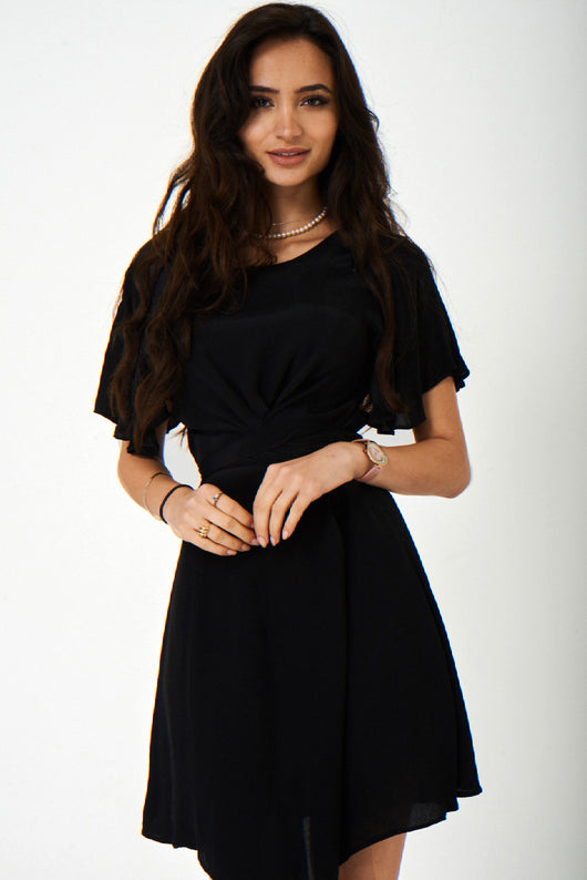 Black Satin Skater Dress Ex Brand-Fabulous Bargains Galore