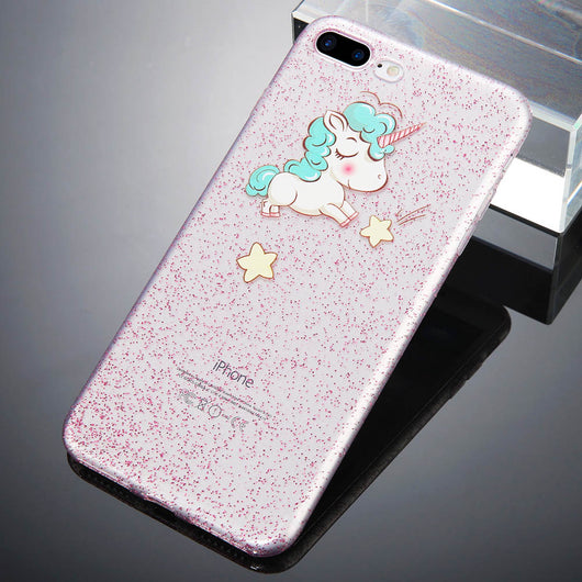 Cute Unicorn Print Transparent iPhone 8 Case-Fabulous Bargains Galore