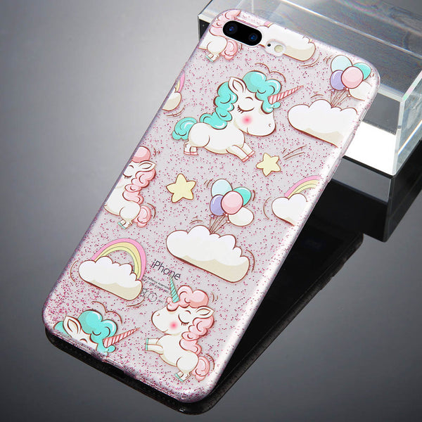 Cute Unicorn Print Transparent iPhone 8 Case