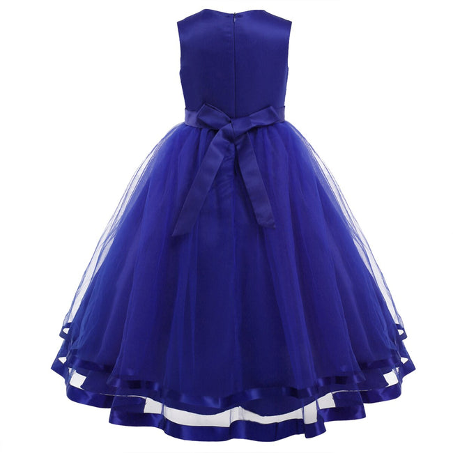 Satin flower girl dress with tulle skirt up to age 14 years-Fabulous Bargains Galore