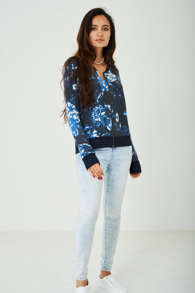 Zip Through Knitted Cardigan in Blue-Fabulous Bargains Galore