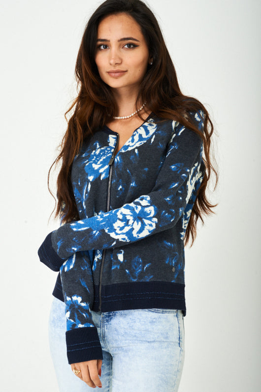 Zip Through Knitted Cardigan in Blue - Fabulous Bargains Galore