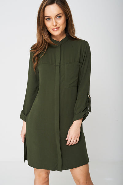 Grandad Collar Shirt Dress Ex-Branded