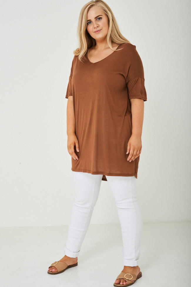 PLUS SIZE Cut Out Back Tunic Top in Brown-Fabulous Bargains Galore