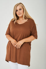 PLUS SIZE Cut Out Back Tunic Top in Brown