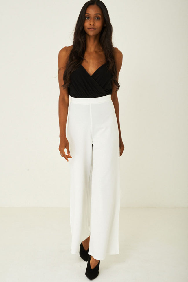 White Side Slit Wide Leg Trousers Ex Brand-Fabulous Bargains Galore