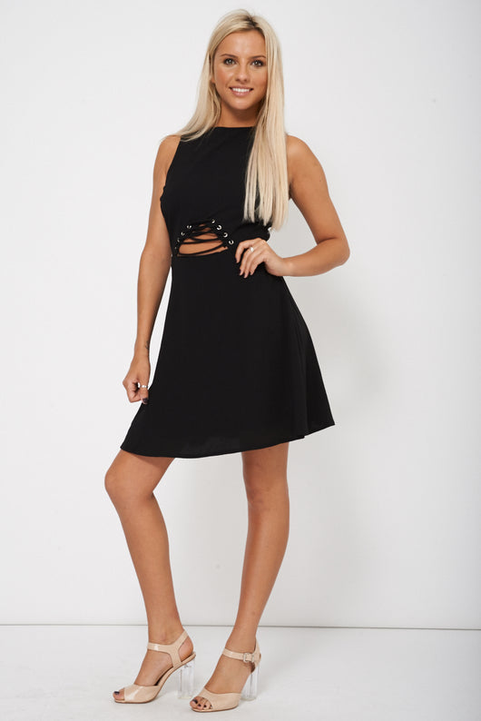 Black Skater Dress With Lace Up Front Detail - Fabulous Bargains Galore