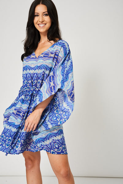 Blue Beach Cover-Up With Abstract Pattern