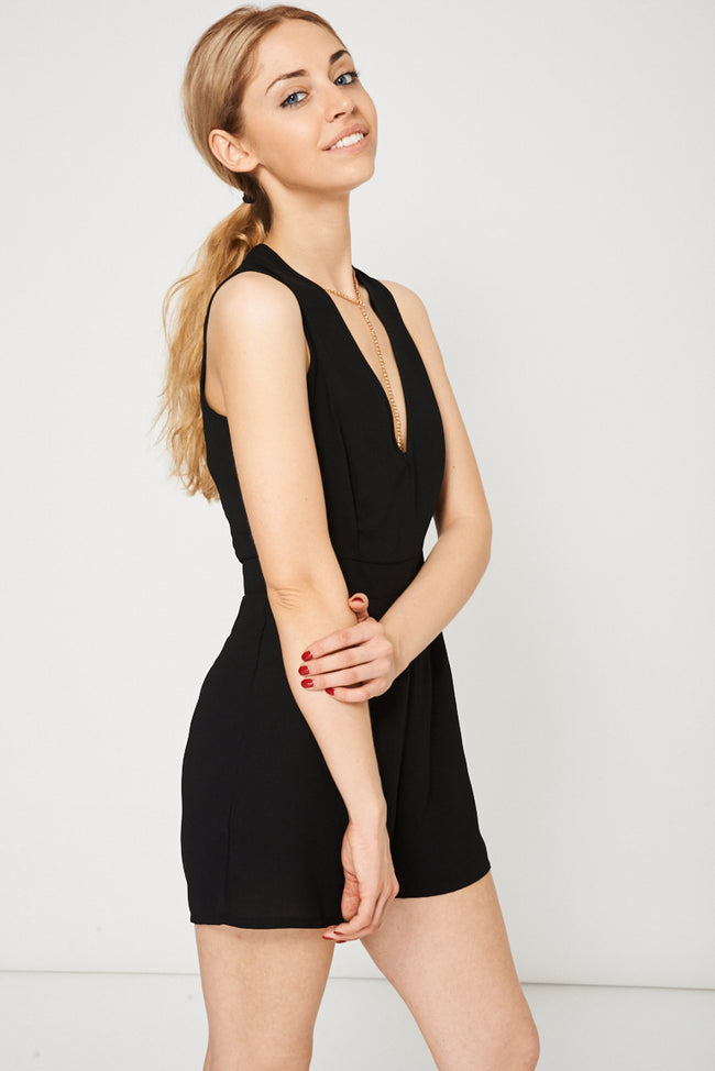 Necklace Detail Playsuit In Black-Fabulous Bargains Galore