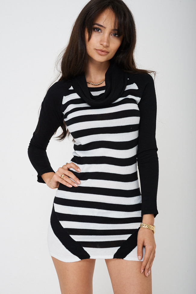 Knitted Dress in Stripes-Fabulous Bargains Galore