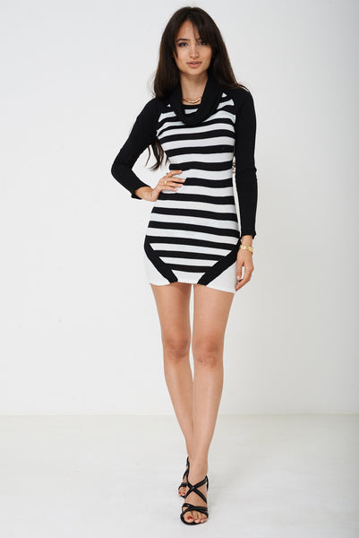 Knitted Dress in Stripes