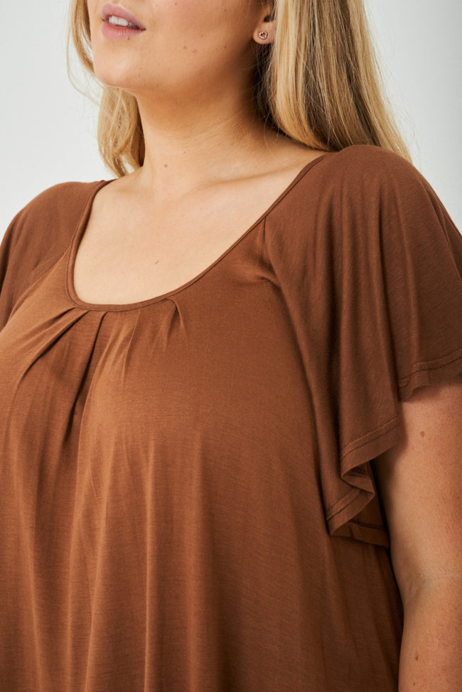 PLUS SIZE Flute Sleeve Top in Brown-Fabulous Bargains Galore