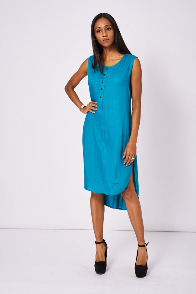 Buttons Front Teal Dress With Side Pockets-Fabulous Bargains Galore