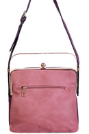 Triple Compartment Pink Bag with Metallic Handle-Fabulous Bargains Galore