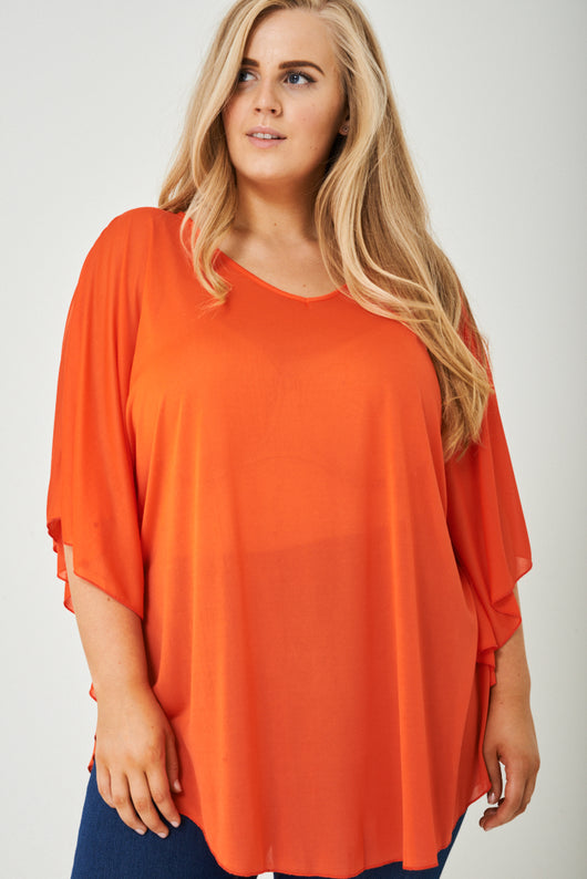PLUS SIZE Lightweight Top in Orange-Fabulous Bargains Galore