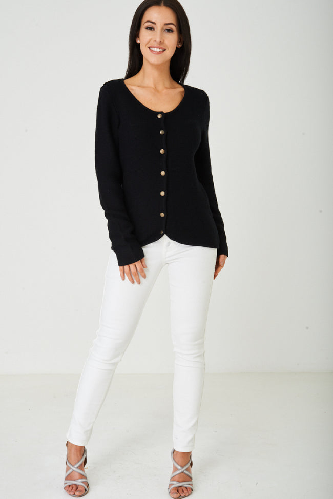 Black Button Down Cardigan Ex Brand-Fabulous Bargains Galore