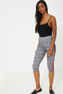 Dog Tooth Check Side Stripe Cropped Legging - Fabulous Bargains Galore