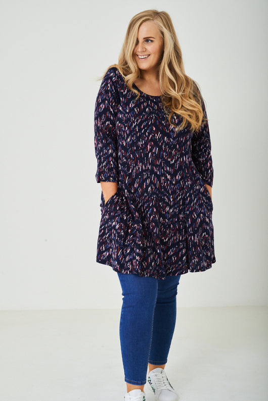 PLUS SIZE Printed Dress in Navy-Fabulous Bargains Galore
