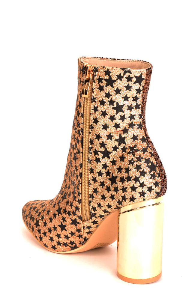 Two Faced Glitter Ankle Boots in Gold-Fabulous Bargains Galore