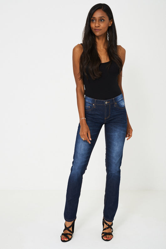 Slim Fit Jeans In Dark Blue Wash-Fabulous Bargains Galore