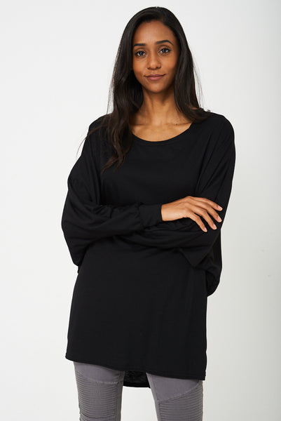 Oversized Tunic Top in Black