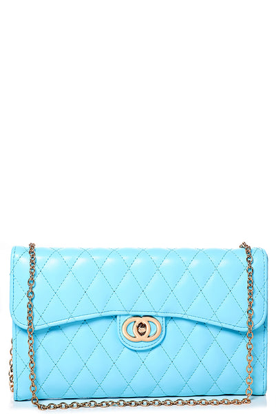 Quilted Crossbody Going Out Purse in Blue