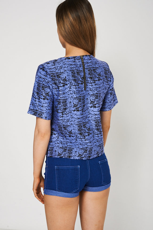 Blue And Black Top With Back Zip Detail-Fabulous Bargains Galore