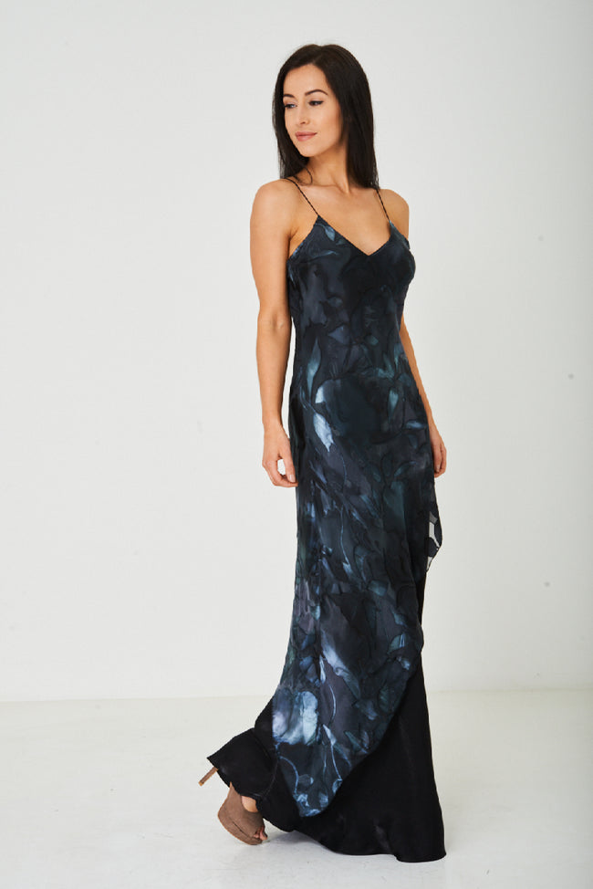 Printed Black Fishtail Maxi Dress-Fabulous Bargains Galore