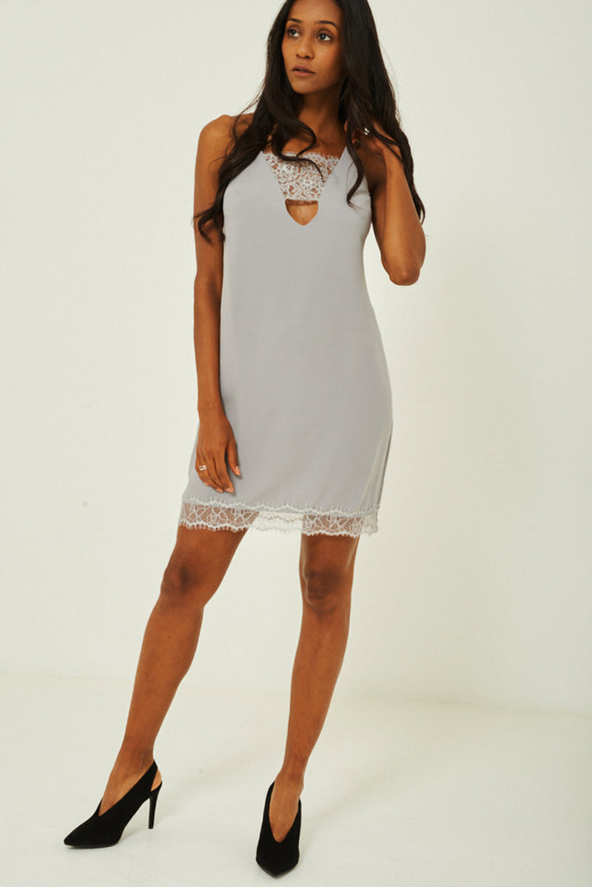 Grey Lace Insert Slip Dress Ex Brand-Fabulous Bargains Galore