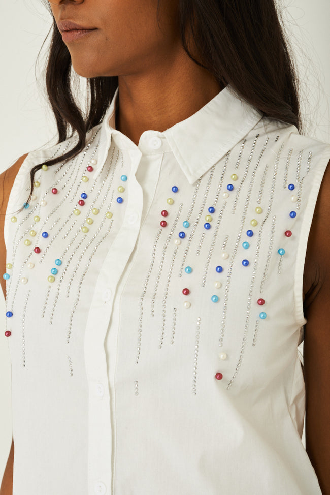 Pearl Embellished Top in Cream-Fabulous Bargains Galore