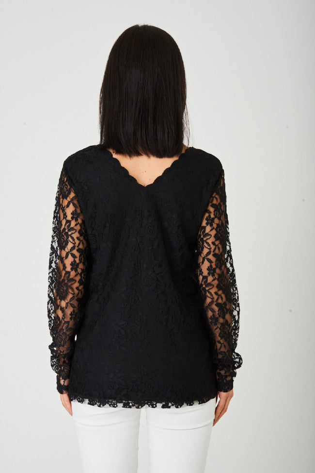 Lace Scallop Neck Top in Black-Fabulous Bargains Galore