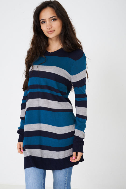 Longline Jumper in Stripes Ex Brand-Fabulous Bargains Galore