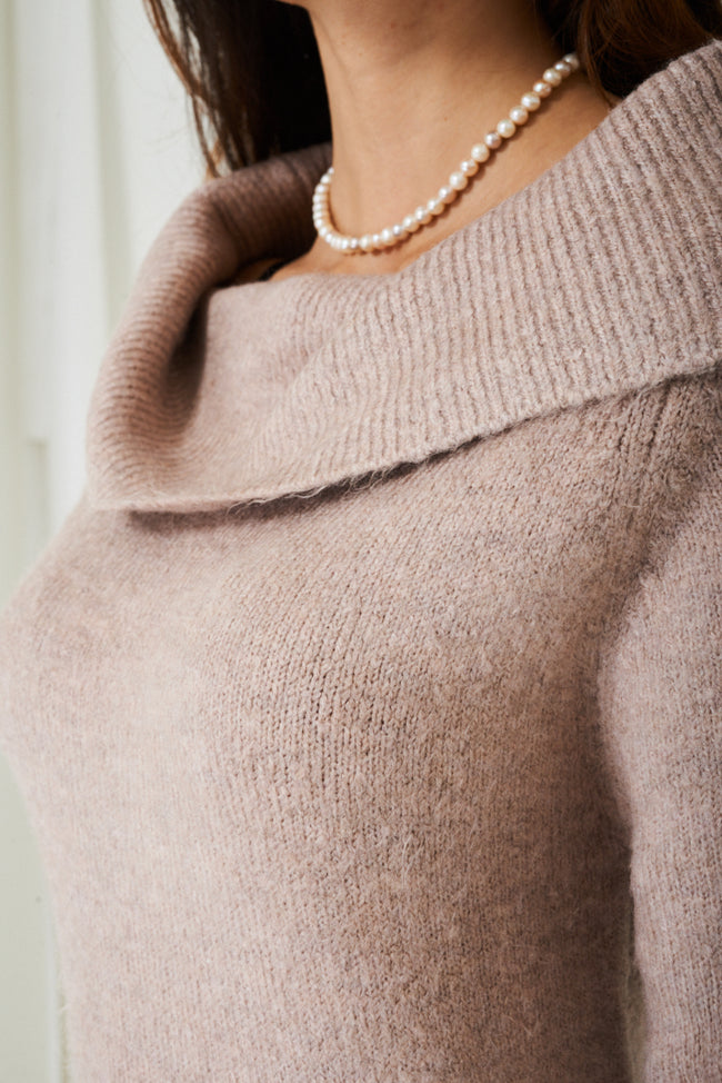 Cowl Neck Soft Knit Jumper in Pink-Fabulous Bargains Galore