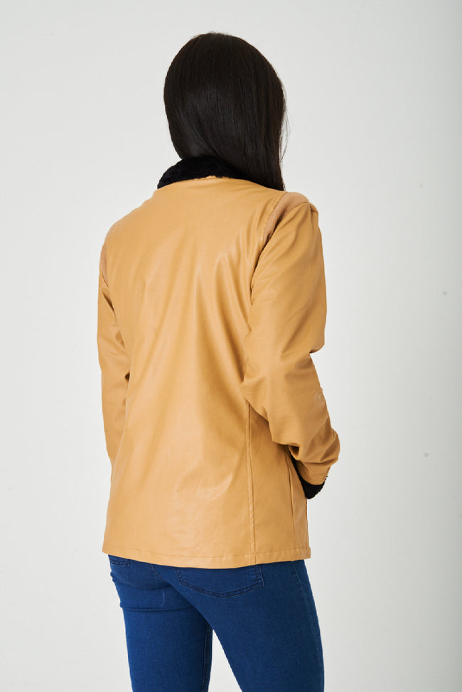 Camel Faux Leather Jacket-Fabulous Bargains Galore
