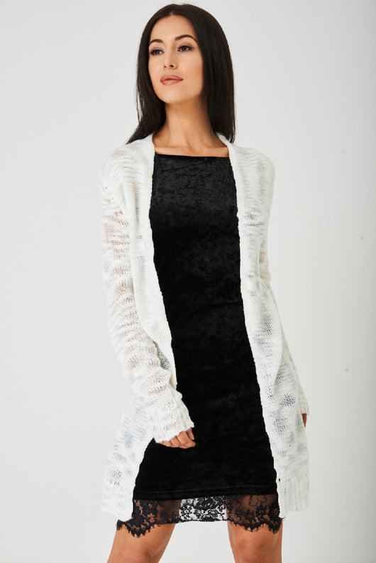 Cream Burnout Knit Cardigan Ex Brand - Fabulous Bargains Galore