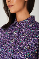 Floral Print Shirt Dress in Purple - Fabulous Bargains Galore