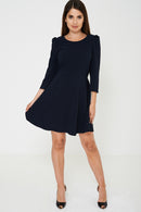 Long Sleeve Skater Dress in Navy Ex Brand - Fabulous Bargains Galore