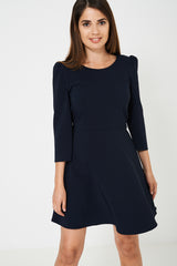 Long Sleeve Skater Dress in Navy Ex Brand