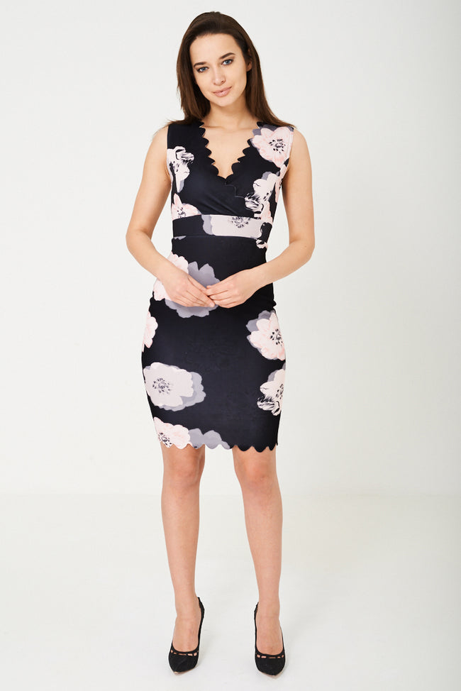 Bodycon Dress in Floral Print-Fabulous Bargains Galore