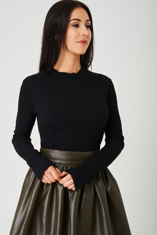 Black Ribbed Crop Top Ex Brand-Fabulous Bargains Galore