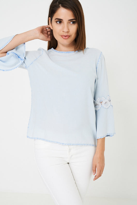 Blue Top with Fluted Lace Sleeve Ex Brand-Fabulous Bargains Galore