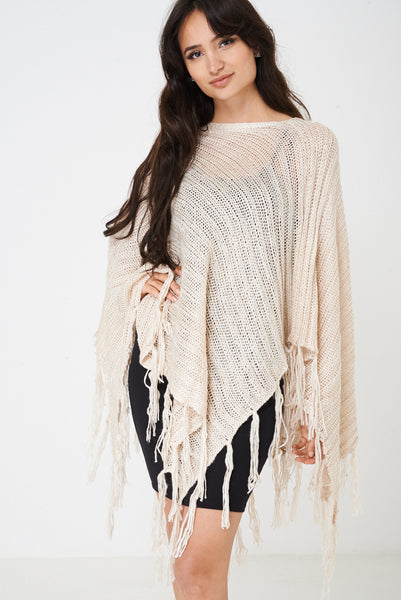 Beige Poncho with Metallic Insert