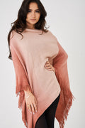 Pink Ombre Fringed Hem Poncho-Fabulous Bargains Galore