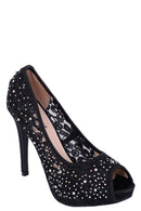 Black Lace Stiletto Heel Peep Toe Sandals-Fabulous Bargains Galore