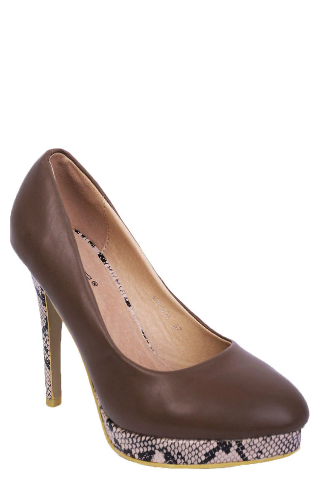 Python Stiletto Heels in Brown-Fabulous Bargains Galore