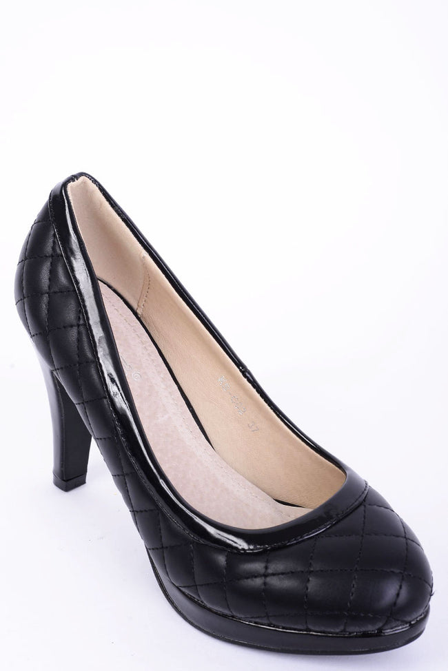 Quilted Black High Heels-Fabulous Bargains Galore