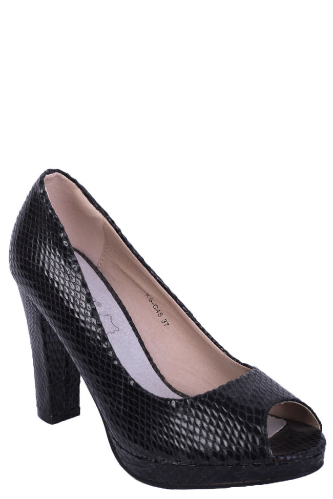 Black Snakeskin Peep Toe High Heels-Fabulous Bargains Galore