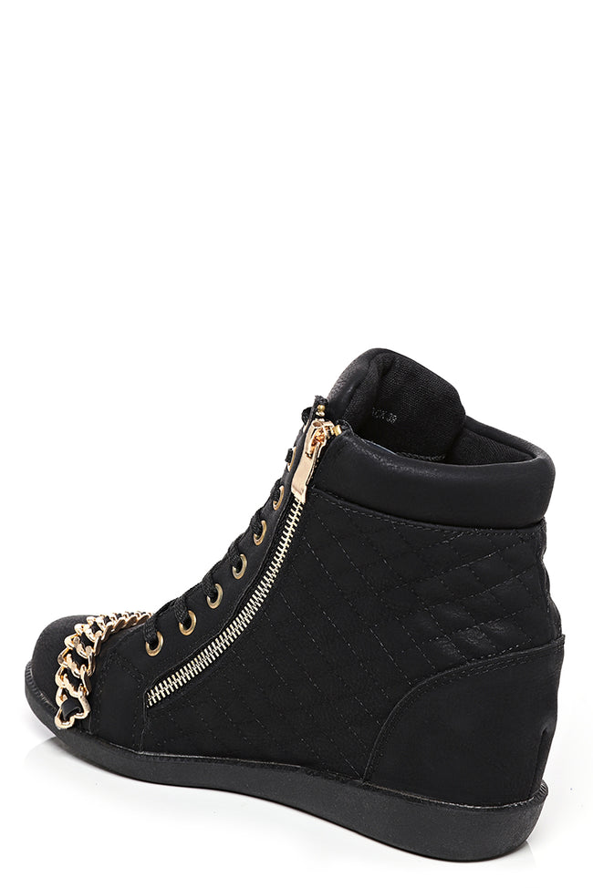 Wedge Quilted Trainer in Black-Fabulous Bargains Galore