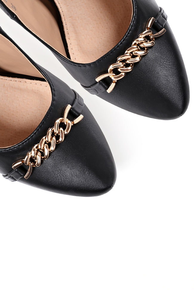 Chain Detail High Heel Shoes In Black-Fabulous Bargains Galore